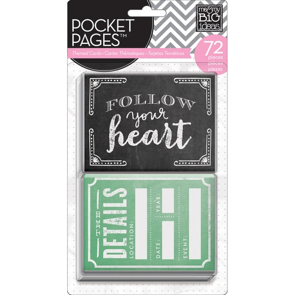 "Me & My Big Ideas Pocket Pages Themed Cards 3""X4"" 72/Pkg-Follow Your Heart"