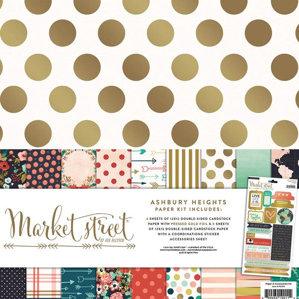 "My Mind's Eye Paper & Accessories Kit 12""X12""-Market Street Ashbury Heights"