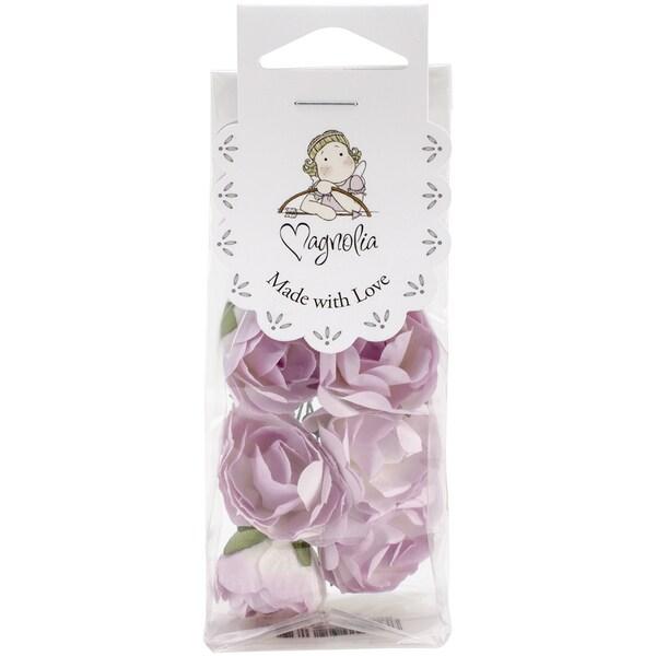 Shabby Chic Paper Roses 10/Pkg-Purple