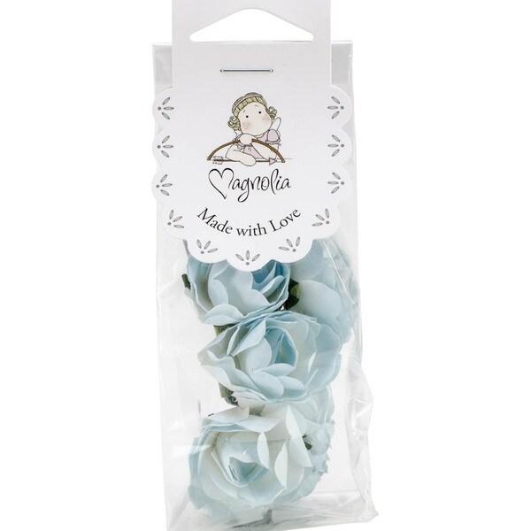 Shabby Chic Paper Roses 10/Pkg-Turquoise