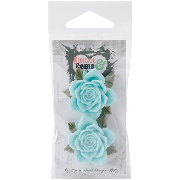 Junque & Gems Resin Flowers 2/Pkg-Blue Roses
