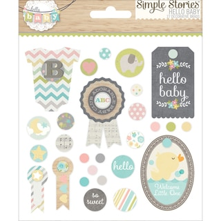 Hello Baby Decorative Brads