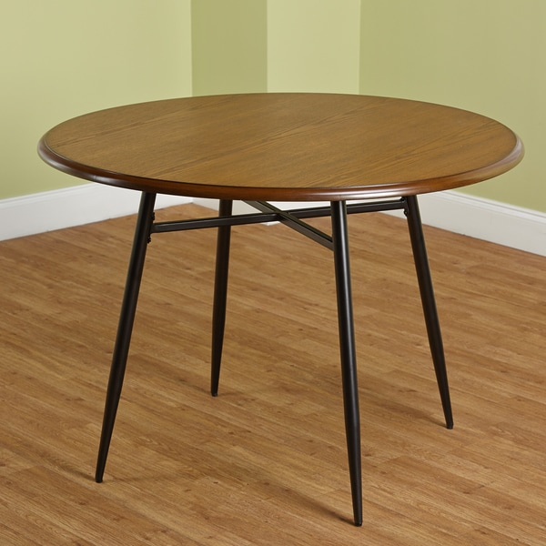 simple living milo mixed media round dining table 16428568