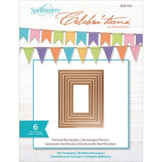 Spellbinders Celebra'tions Dies 6/Pkg-Pierced Rectangle