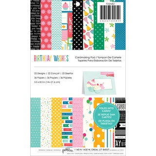 "Birthday Wishes Cardmaking Pad 5.5""x8.5"" 36/pkg-22 Designs"