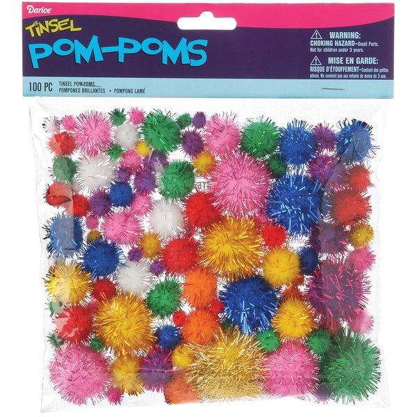 Tinsel Pom-Poms 100/Pkg-Brights Assorted