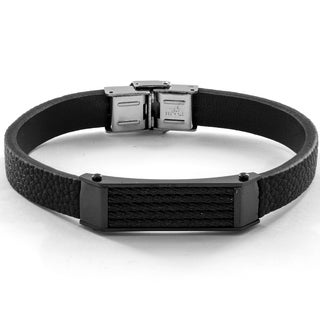 Men's Black Leather and Stainless Steel Cable Inlayed ID Plate Bracelet