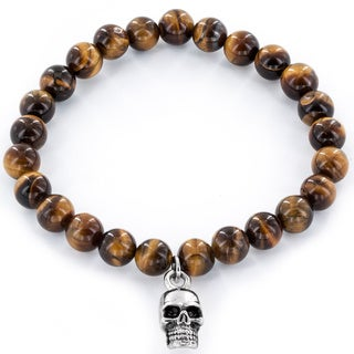 Crucible Stainless Steel Skull and Tiger Eye Bead Bracelet