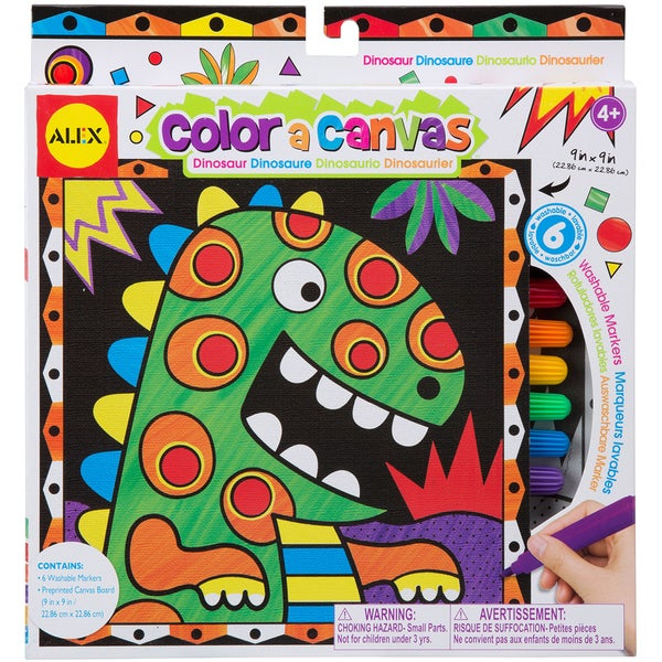 Color A Canvas Kit-Dinosaur