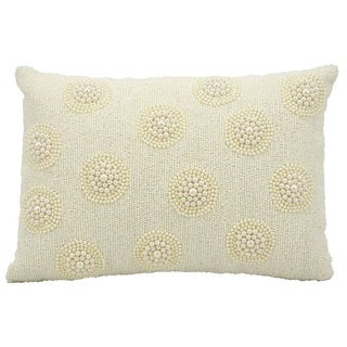 kathy ireland Pearl On Seed Beads Ivory Throw Pillow (10-inch x 14-inch) by Nourison
