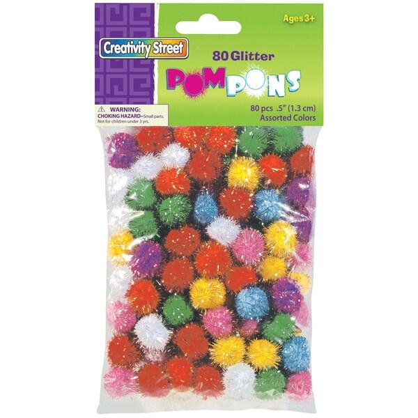 Pom-Pons Glitter Pack 80/Pkg-Assorted Colors & Sizes