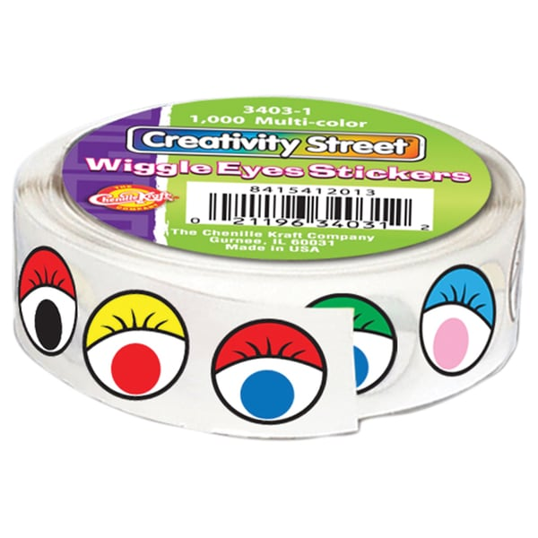 "Wiggle Eyes Stickers .5"" 1,000/Pkg-Multicolor"