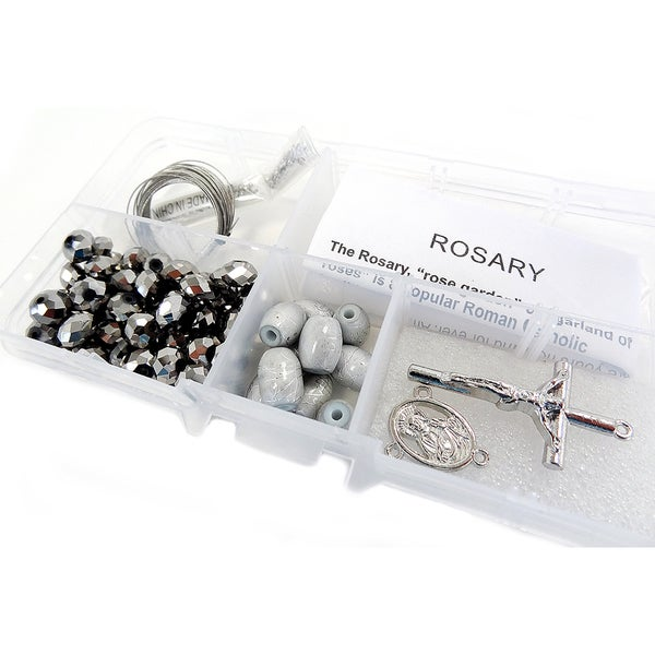 Crystal & Pearl Rosary Bead Kit Makes 1-Silver Crystal Beads/Gray Barrel Beads