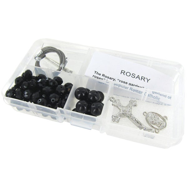 Crystal & Pearl Rosary Bead Kit Makes 1-Black Crystal Beads/Black Pearls