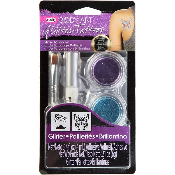 Tulip Body Art Glitter Tattoo Kit-Purple