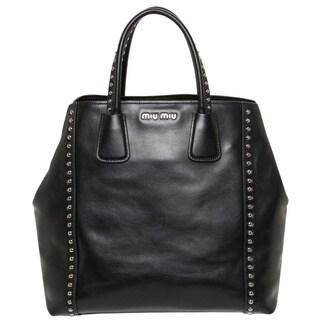 Miu Miu Black Studded Leather Tote