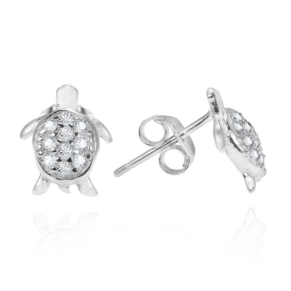 Mini Sea Turtle Cubic Zirconia Adorned .925 Silver Earrings (Thailand)