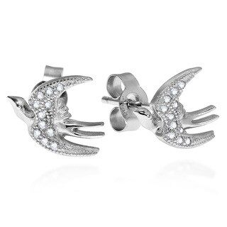 Joyful Gliding Sparrow CZ .925 Silver Post Earrings (Thailand)