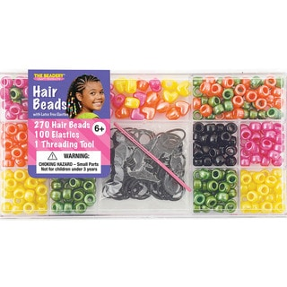 Large Hair Bead Kit-Bright Pearl