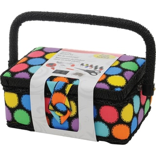 "Sewing Basket-7.25""X3.5""X5"" Bright Dots"