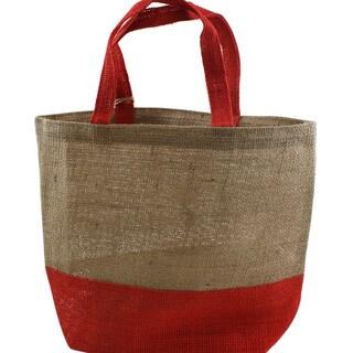 """Burlap Bag 15""""X12""""X5.5""""-Natural And Red"""