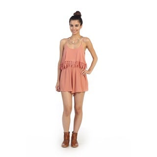 Hadari Juniors Pink Sleeveless Fringe Romper