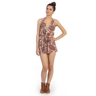 Hadari Juniors Paisley Print Sleeveless V-neck Romper