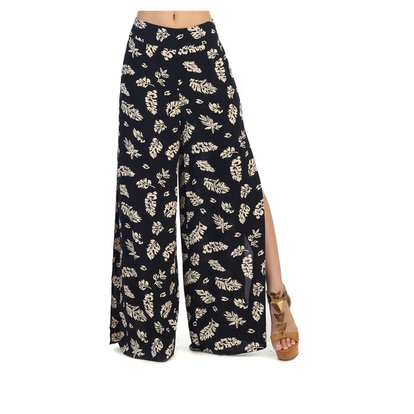 Hadari Juniors Black Side-slit Palazzo Pants