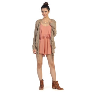 Hadari Juniors Brown Open Fringe Cardigan