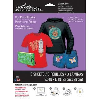 """Jolee's Easy Image Transfer Sheets 8.5""""X11"""" 3/Pkg-Glitter For Dark Fabrics"""