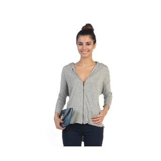 Hadari Juniors Grey Long Sleeve Zippered Sweater