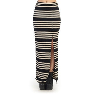 Hadari Juniors Black and White Striped Maxi Skirt