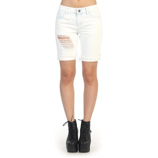 Hadari Juniors White Cotton Bermuda Shorts