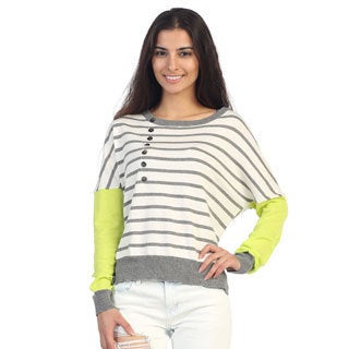Hadari Juniors Neon/ Grey Striped Dolman Sleeve Top