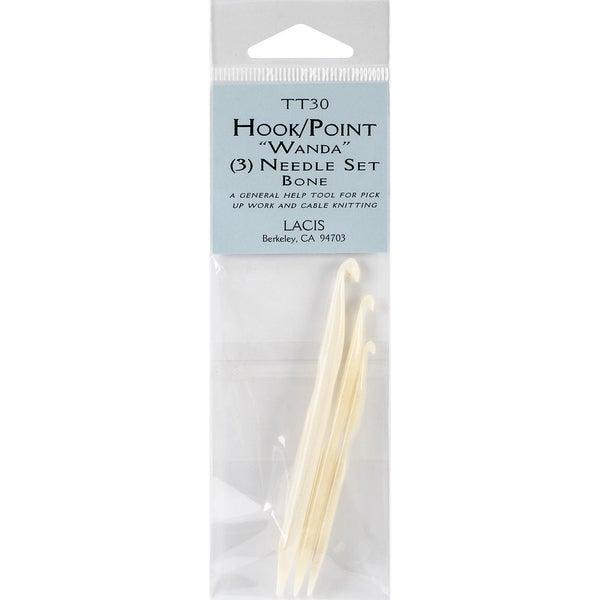 "Double Ended Bone Crochet Hook & Point 3/Pkg-D4/3mm-3"", F6/4mm-3.5"", J10/6mm-4"""