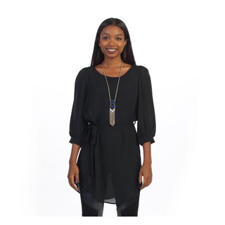 Hadari Women's Sheer Black Tunic