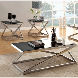 Furniture of America Krystalle 2-Piece Chrome and Black Glass Top Accent Table Set