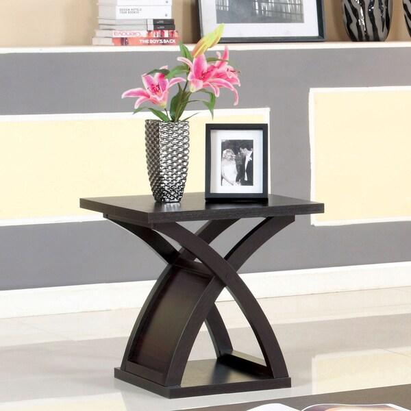 Barkley Console Table: Furniture Of America Barkley Modern Espresso X-Base End Table