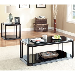 Furniture of America Mortecia 3-Piece Glass and Metal Coffee and End Table Set