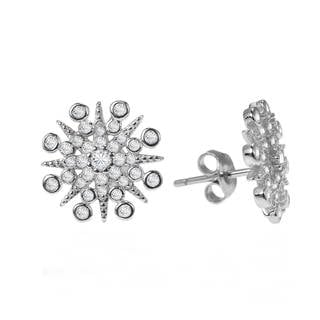 Exquisite Snowflake Cubic Zirconia .925 Silver Earrings (Thailand)