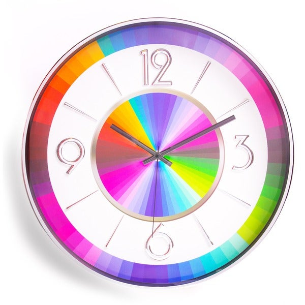 Modern Mid-century Stainless Steel Irridenscent Rainbow Metal Clock
