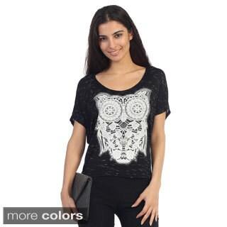 Hadari Juniors Owl Pattern Short-sleeve Top