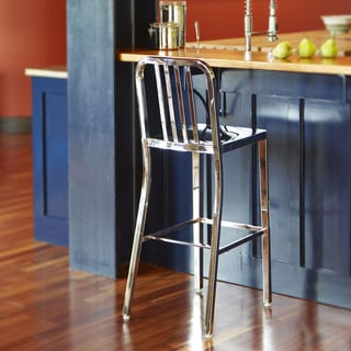 Dalton Home Indoor Chair Collection Polished Stainless Steel Slatted Back Bar Stool