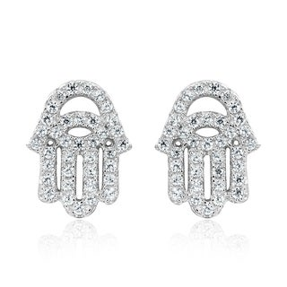 Sparkling Hand of Hamsa Cubic Zirconia .925 Silver Earrings (Thailand)