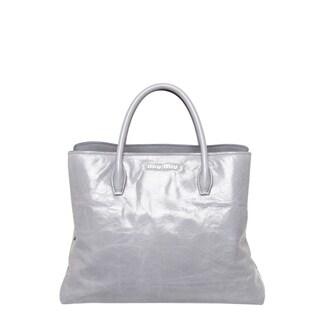 Miu Miu Light Grey Vitello Leather Glossy Tote