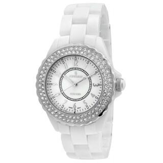 Peugeot Swiss Women's PS4880WS White Ceramic Crystal Bezel Watch