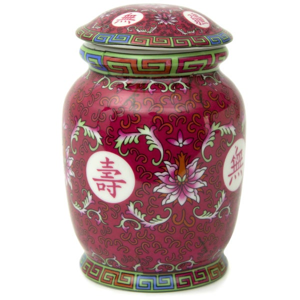 Tang Fuchsia Ceramic Covered Tea Jar (China)