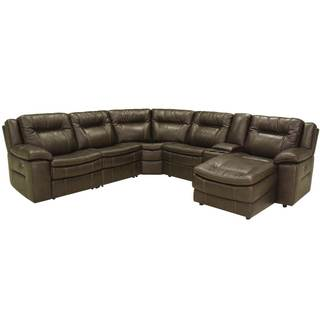 Gannon Brown Leather Motion Sectional