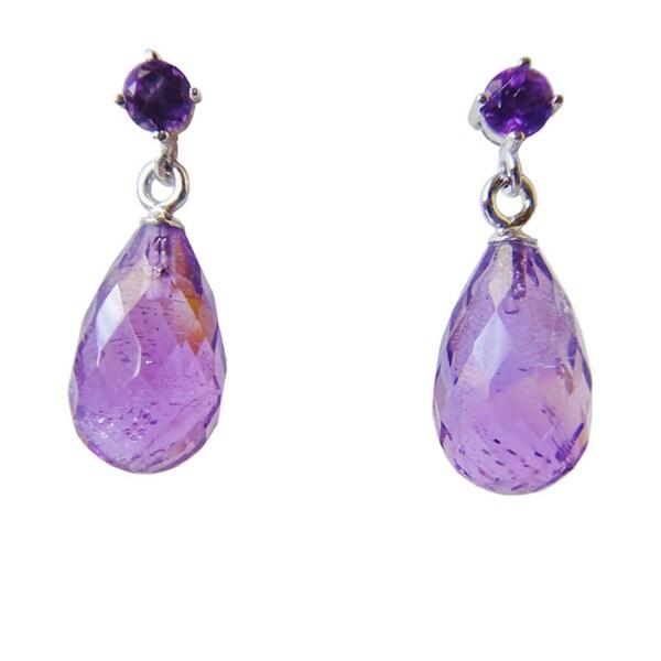 Sterling Silver Amethyst Gemstone Pear-cut Dangle Earrings