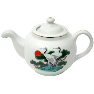 Pine Tree and Crane Porcelain Teapot (China)